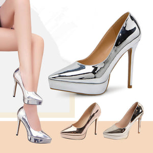 Women's Pointed Platform High Heel Metallic Pumps AS30