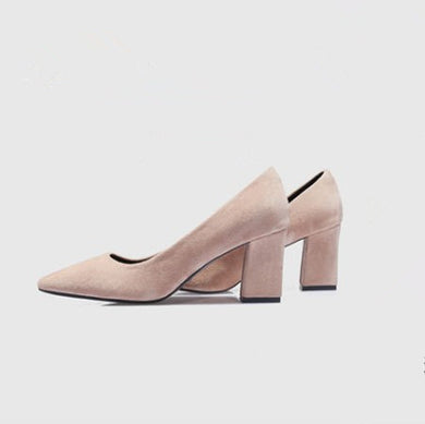 US2(eu32) Beige Suede Block Heel Pumps Sale