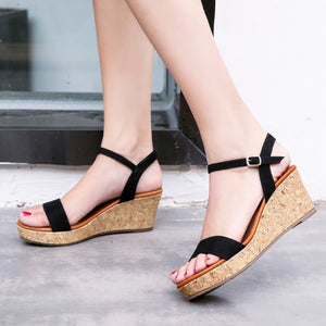 Women Petite Size Ankle Strap Wedge Heel Sandals Canada Size 4