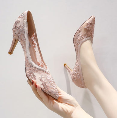 Women's Floral Lace Heels Size 1-4 BS260