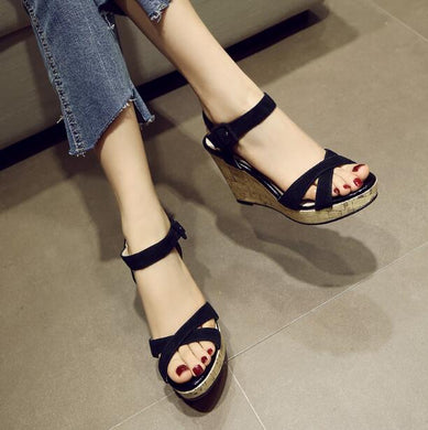 Small Size Ankle Strap Wedge Sandals BS109
