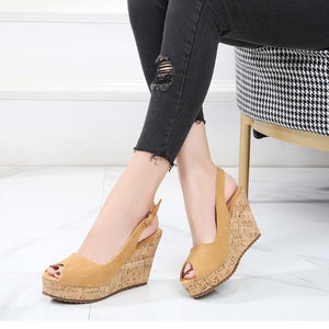 Women's Small Size Peep Wedge Shoes BS253
