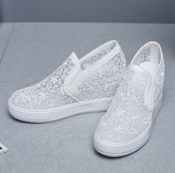 c54522b05 Women s Breathable Crochet Lace Height Increase Sneakers Casual ...