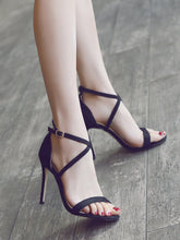 Women's Criss Cross Strap Sexy High Heel Peep Sandals In Small Size 33