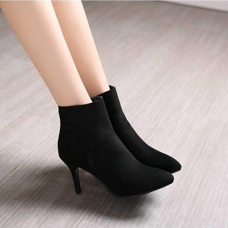 Women's Large Size Pointed Toe Ankle Boots BS13