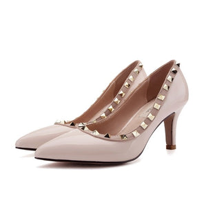 Women's Large Size Pointed Rockstud Dress Pump Shoes BS15