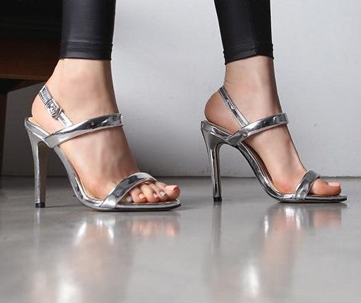a96f23ba58 ... Small Feet Open Toe Ankle Strap Metallic Sexy Heeled Sandals SS30 ...