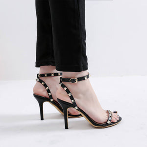 Women's Open Toe Studded One Strap Heel Sandals Petite Size 3