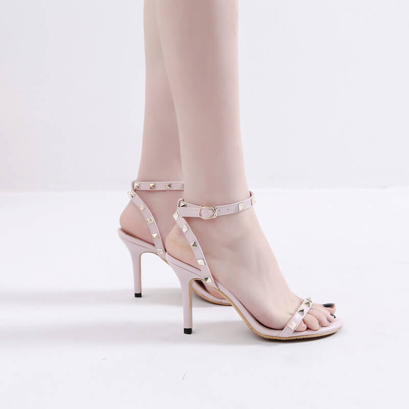 Women's Open Toe Studded One Strap Heel Sandals Petite Size 2