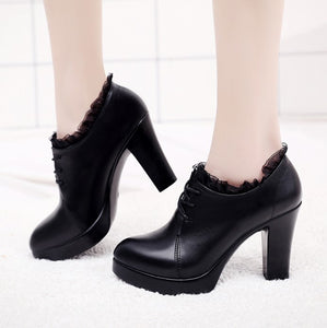 Petite Size Chunky Heel Platform Lace Pumps Booties AS163