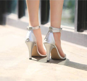 Women's Petite Feet Small Size One Strap Ankle Buckle Heel Dress Sandals