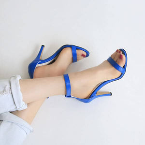Women's Petite Feet Small Size One Strap Ankle Buckle Heel Sandals Blue