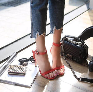 Women's Petite Feet Small Size One Strap Ankle Buckle Heel Sandals Red
