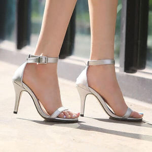 Women's Petite Feet Small Size One Strap Ankle Buckle Heel Sandals Silver