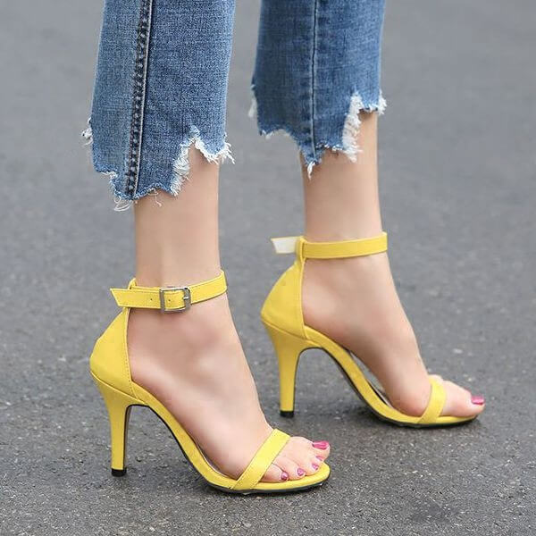 Women's Petite Feet Small Size One Strap Ankle Buckle Heel Sandals Yellow