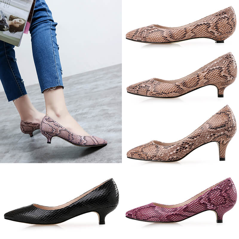 Women's Petite Size Pointed Mid Heel Printed Leather Dress Pumps Sale