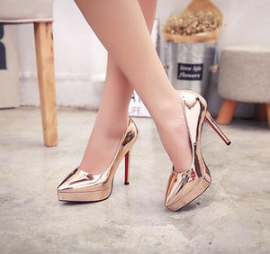 Women's Pointed Platform High Heel Metallic Leather Pumps In Small Size