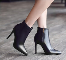Women's Petite Pointed Toe High Heel Short Boots AS187