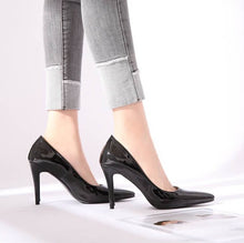 Women's Pointy Small Size High Heel Patent Dress Pumps In Black