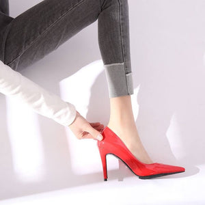 Women's Pointy Small Size High Heel Patent Dress Pumps In Red
