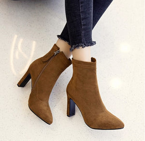 Petite Pointy Chunky Heel Side Zipper Suede Boots AS212