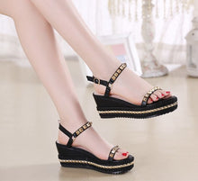 Women's Small Feet Rockstud Strap Open Toe Wedge Sandals SS20