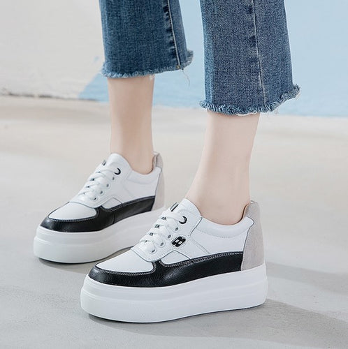 Women's Small Size 31 Thick Sole Inner Heel Height Increase Sneakers