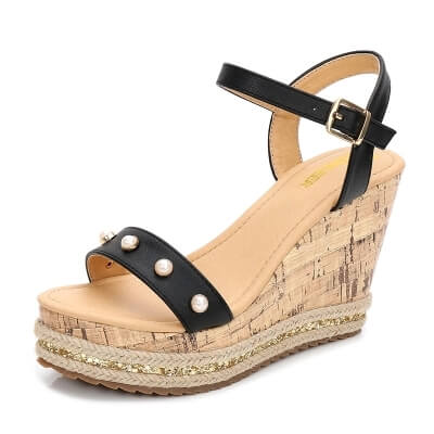 Women's Small Size 4 White Open Toe Strappy High Wedge Platform Heel Wood Decoration Buckle Sandals