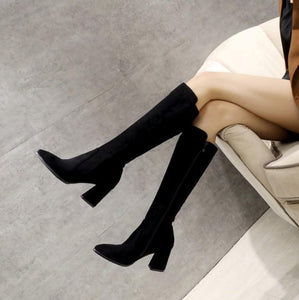 Side Zipper Suede Long Boots US3(eu33) For Sale