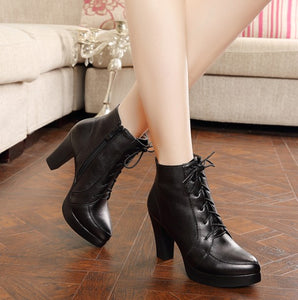 Women's Small Size Platform Chunky Heel Boots AS162