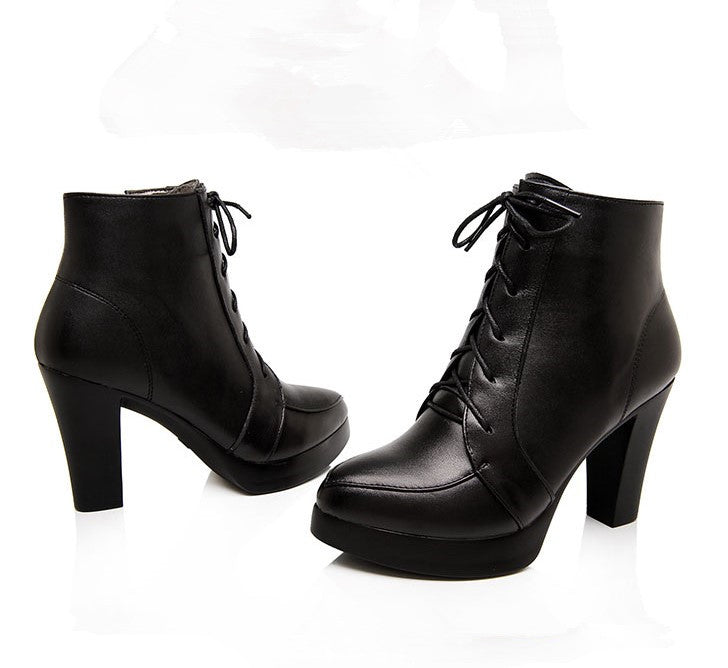 679abf13676 Women s Small Size Little Feet Platform Chunky High Heel Ankle Boots ...