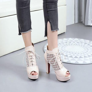 Women's Small Size Peep Toe Lace Up High Heels SS72