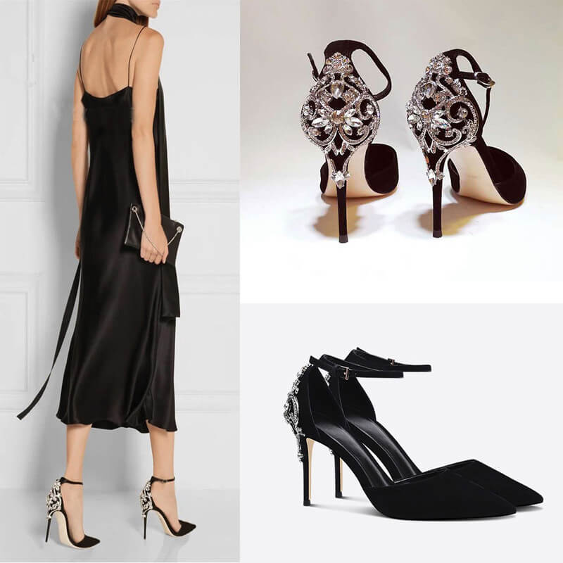 Women's Small Size Pointed Suede Ankle Buckle Dress Sandals Sale