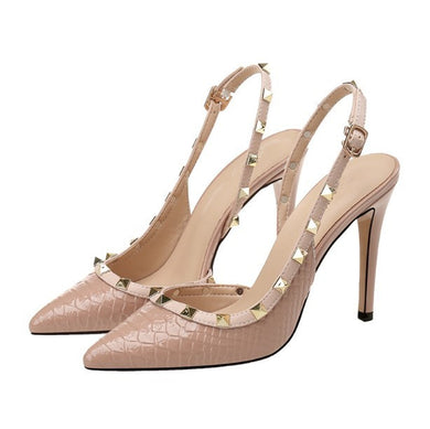 Petite Size Rockstud Slingback Dress Heel Sandals SS53