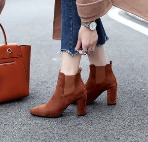 Women's Small Size Slip On Chunky Heel Ankle Boots AS188