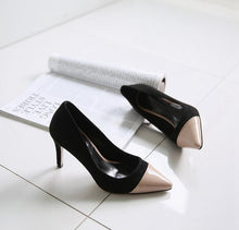 Women's Small Size Two Tone Pointed Dress Heel Pumps SS50