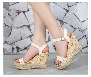 Women's Small Size White Open Toe Strappy High Wedge Platform Heel Wood Decoration Buckle Sandals
