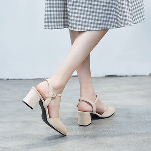 Womens Chunky Block Mid Heel Small Size Sandals Online Sale