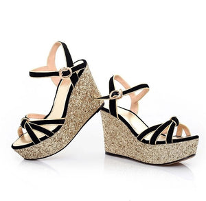 Womens Glitter Wedge Heel Sandal Shoes SS155