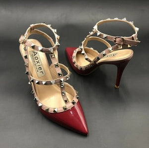 Womens Petite Size Rockstud Strap Heeled Sandals SS115