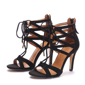 Womens Small Size Lace Up Peep Heeled Sandals SS152