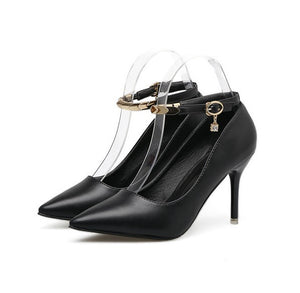 Petite Pointed Toe Ankle Strap Heel Pumps AS125