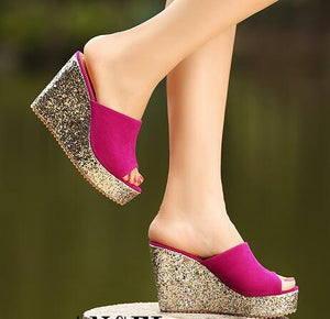 Womens Glitter Peep Wedge Sandals SS197