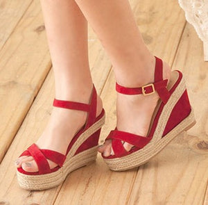 Womens Small Size Wedge High Heels Sandals SS119