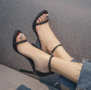 Black Ankle Strap Sandals Sale 6cm Heel US3(eu33)