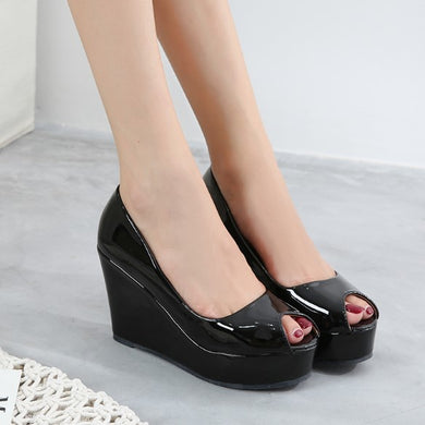 Patent Peep Wedge Shoes Sale US4(eu34)