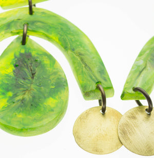 Contemporary handmade lime green and brass earrings
