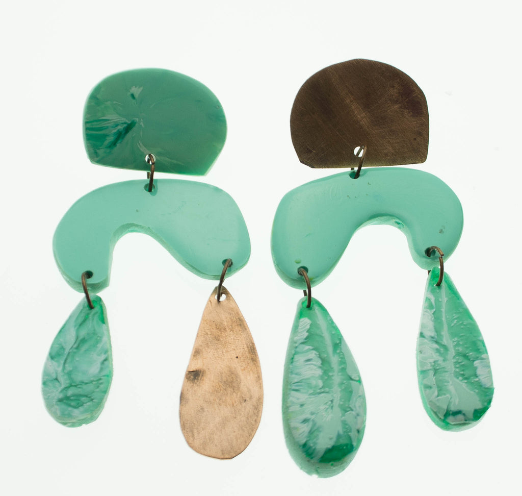 Contemporary handmade teal and copper earrings