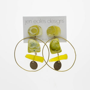 Contemporary Handmade  Avocado  Resin with Recycled Brass Hoop Earrings