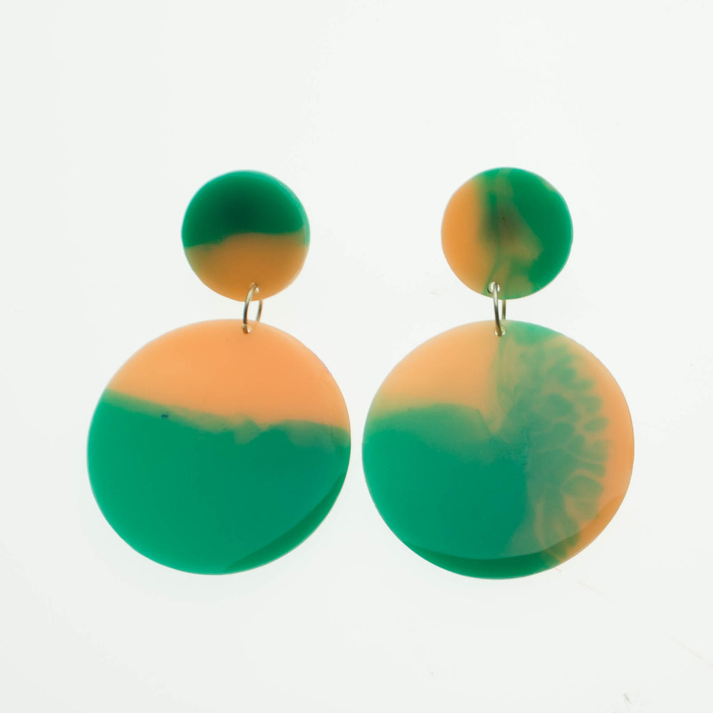 Contemporary Handmade Teal and Peach Circle Resin Dangle Earrings